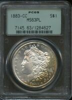 1883 CC MORGAN SILVER DOLLAR PCGS OGH MINT STATE 63 PL GOLD OBV TONING  COIN
