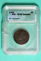 1793 ICG EF40 DETAILS WREATH FLOWING HAIR LARGE CENT HD0066