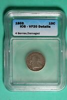 1805 ICG VF20 DETAILS CAPPED BUST DIME HD0062