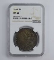 MINT STATE 62 1896 MORGAN SILVER DOLLAR - TONED - GRADED NGC 0881
