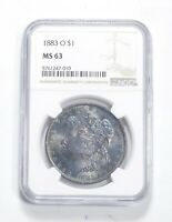MINT STATE 63 1883-O MORGAN SILVER DOLLAR - GRADED NGC BLUEBERRY TONE 0460