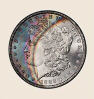 1886-P MORGAN DOLLAR PCGS MINT STATE 65 ULTRA COLORFUL NAVY BLUE FUCHSIA RAINBOW TONED