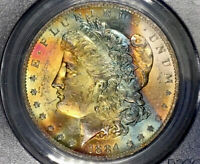 1884-O MORGAN DOLLAR PCGS MINT STATE 63 CAC GOLDEN PEACH RED RAINBOW TONED LUSTER BOMB