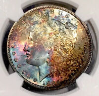 1896-P MORGAN DOLLAR NGC MINT STATE 64 VIBRANT ULTRA COLORFUL RAINBOW TONED
