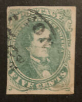 TDSTAMPS: US CONFEDERATE STATES CSA STAMPS SCOTT1 USED TINY THIN LIGHTLY CREASE