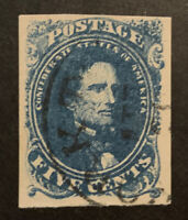 TDSTAMPS: US CONFEDERATE STATES CSA STAMPS SCOTT4A USED LIGHTLY CREASE
