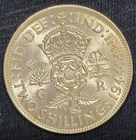 2 SLIVER COINS 1944 GREAT BRITAIN FLORIN  TWO SHILLINGS  AND '44 6 PENCE 50  07