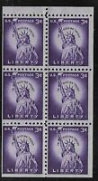 STATUE OF LIBERTY  BOOKLET PANE OF 6 STAMPS SCOTT  1035 A  MNH.
