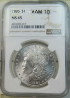 1885 MORGAN DOLLAR NGC MINT STATE 65 VAM 1D BANDED WING TIP WOWLIST BR