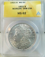 1921 MORGAN DOLLAR ANACS MINT STATE 62 VAM 19A RETAINED CUD BR
