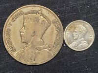 2 SILVER COINS 1933 NEW ZEALAND 1/2 CROWN AND 3 PENCE 50  SILVER  19