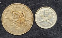 2 SILVER COINS 1934 NEW ZEALAND SHILLING AND 1946 3 PENCE 50  SILVER  20