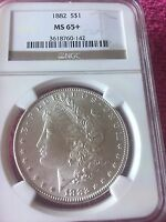 1882 $1 MORGAN SILVER DOLLAR MINT STATE 65 PLUS NGC BRILLIANT WHITE  CLEAN COIN