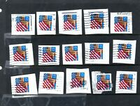 USA COLLECTION OF 32 CENT FLAGS WITH PLATE NUMBERS     3279
