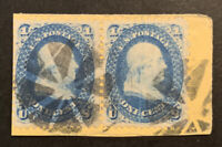 TDSTAMPS: US STAMPS SCOTT63 USED 1 LIGHTLY CREASE PAIR ON PI