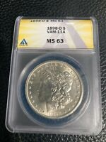1898-O BLAST WHITE NEW ORLEANS MINTED ANACS MINT STATE 63 MORGAN SILVER DOLLAR