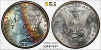 1881-S MORGAN DOLLAR PCGS MINT STATE 64 ULTRA LUSTROUS COLORFUL RAINBOW TONED BOWL TONER