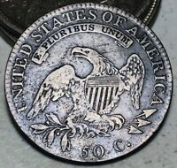 1818/7 CAPPED BUST HALF DOLLAR 50C SMALL 8 OVERDATE GOOD SILVER US COIN CC7905