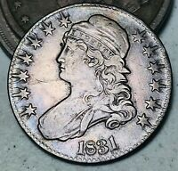 1831 CAPPED BUST HALF DOLLAR 50C UNGRADED LETTERED EDGE US SILVER COIN CC7908