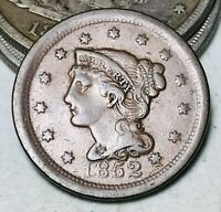 1852 LARGE CENT MATRON BRAIDED HAIR 1C UNGRADED GOOD DATE US COPPER COIN CC7911