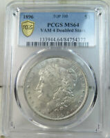 1896 MORGAN DOLLAR PCGS MINT STATE 64 VAM 4 LOW DATE/DOUBLED STARS TOP100