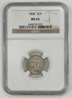 1868 THREE CENT NICKEL 3CN NGC CERTIFIED MINT STATE 63 MINT STATE UNCIRCULATED 028