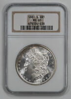 1881 S MORGAN SILVER DOLLAR $1 NGC CERTIFIED MINT STATE 65 MINT STATE UNC 038