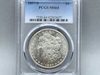 1897-S PCGS MINT STATE 64 MORGAN SILVER DOLLAR ORIGINAL GREAT STRIKE AND LUSTER