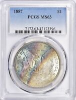 1887-P PCGS MINT STATE 63 MORGAN SILVER DOLLAR $1 - LUSTROUS RAINBOW CRESCENT TONED