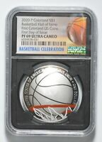 2020 P BASKETBALL SILVER DOLLAR COMMEMORATIVE COLORIZED NGC