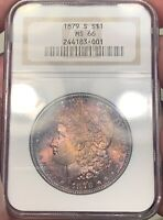 1879-S NGC MINT STATE 66 MORGAN SILVER DOLLAR $1 DEEP PURPLE AND BLUE TONED DUAL SIDE PQ