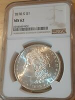 1878-S MORGAN SILVER DOLLAR NGC MINT STATE 62  LOTS OF LUSTER