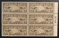 TDSTAMPS: US AIRMAIL STAMPS SCOTTC8 MINT NH OG PBLOCK OF 6