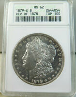 1879 S REV'78 MORGAN DOLLAR ANACS MINT STATE 62 VAM 39 ENGRAVED FEATHER TOP100 CLC