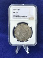 1883-S MORGAN SILVER DOLLAR $1 NGC AU50 ABOUT UNCIRCULATED