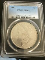 1883 MORGAN SILVER DOLLAR A SPARKLING BEAUTY UNCIRCULATED PCGS MINT STATE 63