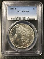 1881S $1 MORGAN PCGS MINT STATE 64 BEAUTIFUL / LOOK BETTER THEN A 64