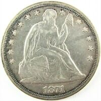 1871 P SEATED LIBERTY SILVER DOLLAR WITH MOTTO VF XF DETAILS