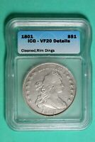 1801 ICG VF20 DETAILS DRAPED BUST SILVER DOLLAR LARGE EAGLE