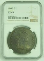 1800 DRAPED BUST SILVER DOLLAR DOTTED DATE VARIETY NGC EXTRA FINE 45 EXTRA FINE  45 GENUINE