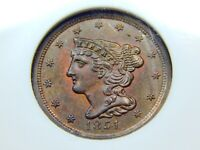 1851 1/2C BRAIDED HAIR HALF CENT MINT STATE 62RB NGC, COOL COLOR