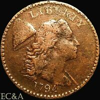 1794 LARGE CENT FLOWING HAIR TYPE-4 LIBERTY CAP S-44 LC082