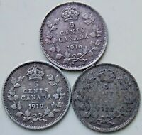 1916 1919 1920 CANADA CANADIAN SILVER 5 CENT COINS   LOT OF