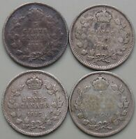 1913 1916 1917 1920 CANADA CANADIAN SILVER 5 CENT COINS   LO