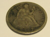 1887-P SEATED LIBERTY DIME FINE DETAIL