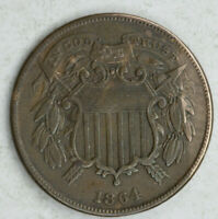 KEY DATE 1864 SMALL MOTTO 2 CENT PIECE