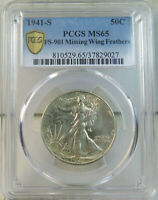 1941 S WALKING LIBERTY HALF DOLLAR PCGS MINT STATE 65 FS 901 MISSING FEATHER BR