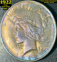 1922 SILVER PEACE DOLLAR UNCIRCULATED LY TONED