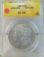 1887 O MORGAN DOLLAR ANACS EXTRA FINE 45 VAM 22A PITTED REVERSE TOP100 EP