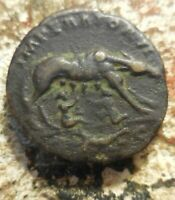 MORE  LEFT BUST OF ANTONINUS PIUS AE AS ROME 143 144 AD SHE WOLF & TWINS